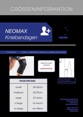 Grössentabelle der NEOMAX Kniebandage mit Gelenken